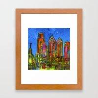 Philly Neon Skyline Framed Art Print