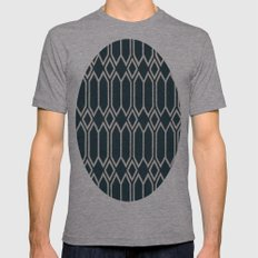 Geometrics In Blue And W… Mens Fitted Tee Athletic Grey SMALL