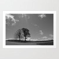 Twin Tree Meadow Art Print