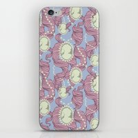 Cameo & Trailing Hair // Pink & Blue Pastels iPhone & iPod Skin