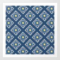 Blue Diamond Tiles Art Print