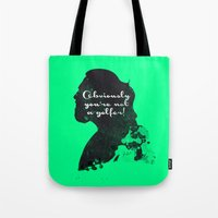 Not a golfer! – The Big Lebowski Silhouette Quote Tote Bag