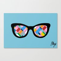Map 45 Glasses on Sky Blue Canvas Print