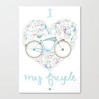 I Love my Bicycle Canvas Print