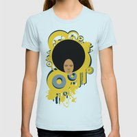 Love the 'Fro Womens Fitted Tee Light Blue SMALL