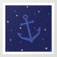 Starfish Anchor - Navy Art Print