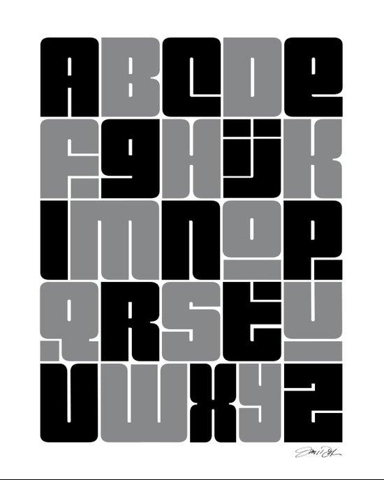 Alphabet Black and Gray Art Print