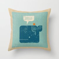 Whale Says Hello to Bird Throw Pillow