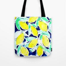 Bold Lemons Blue Tote Bag