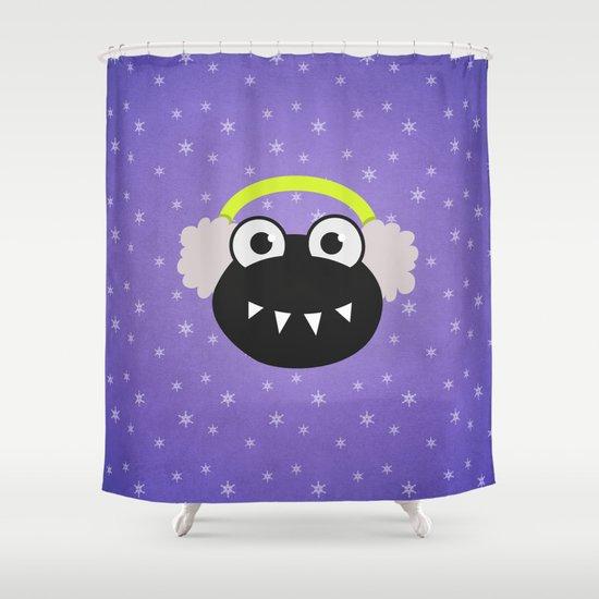 Purple Cute Cartoon Bug With Earflaps In Winter Shower Curtain