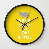 Keep Calm And Love Hippo… Wall Clock