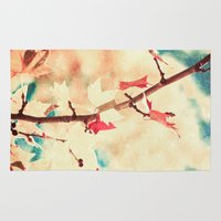 Autumn (Leafs in a textured and abstract sky) Rug