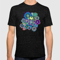 Welcome birds to  my garden. blue Mens Fitted Tee Tri-Black SMALL