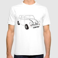 The Italian Job Red Mini Cooper Mens Fitted Tee SMALL White