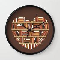 I Heart Books Wall Clock
