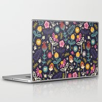 flowers Laptop & iPad Skins featuring Ditsy Flowers by Poppy & Red
