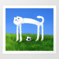 Skinny Cat With Soccer B… Art Print