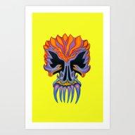 Skull Orange Teeth Pink-… Art Print