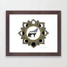 Double Exposure Wolf Howling at the Moon Mandala Framed Art Print