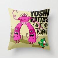 Yoshi Battles The Pink Robots Throw Pillow