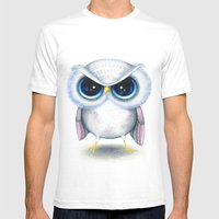 Grumpy Owl  Mens Fitted Tee White SMALL