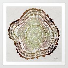 Tree Rings – Watercolor Ombre Art Print