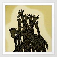 Zen Tangled Giraffe Art Print