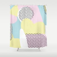 Candy Pink Blue Blobs & Dots Pattern Shower Curtain