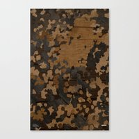 Modern Woodgrain Camouflage / Flecktarn Print Canvas Print