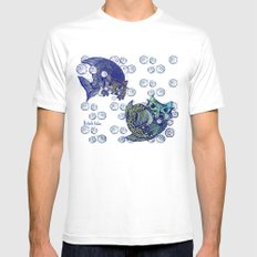 Cats print White Mens Fitted Tee SMALL