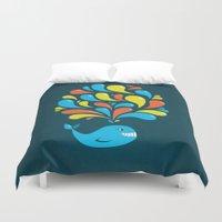Dark Colorful Happy Cartoon Whale Duvet Cover