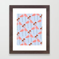 Flower Power Flamingos Framed Art Print