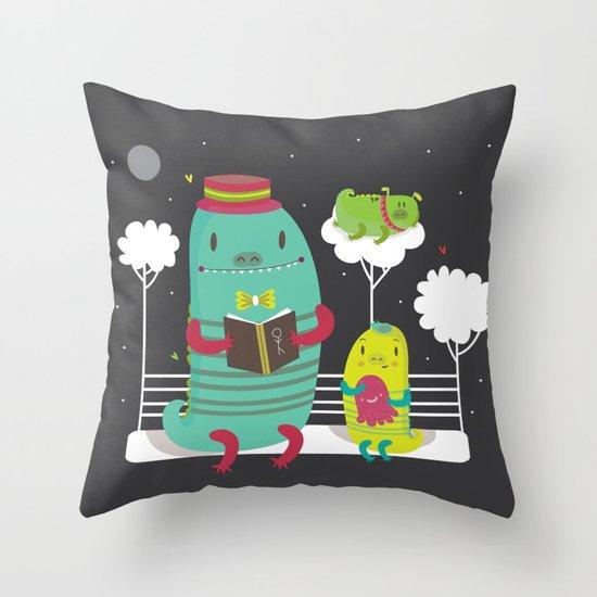 Dino family Throw Pillow