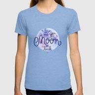 I Love You To The Moon A… Womens Fitted Tee Tri-Blue SMALL