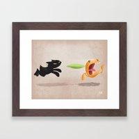Skelly Cat And Orange Framed Art Print