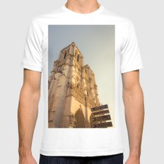 Paris Cathedral Notre Dame  SMALL White Mens Fitted Tee
