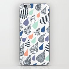 Playful Rain in White iPhone & iPod Skin