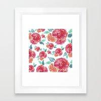 Pastel Spring Flowers Watercolor Framed Art Print