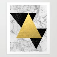 Marble Tri Black & Gold … Art Print