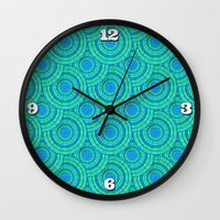 Teal Parasols Pattern Wall Clock