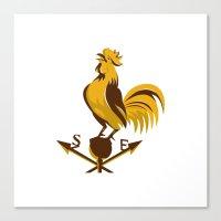 Rooster Cockerel Crowing… Canvas Print