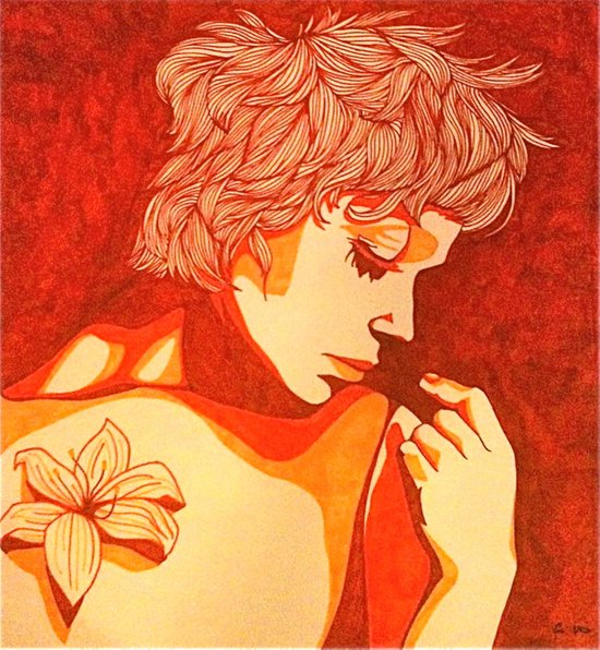Female Study with Tiger Lily Canvas Print