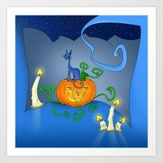 Halloween - Cat On Pumpkin Art Print