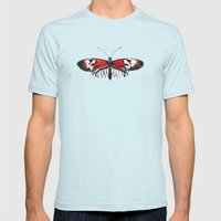 Piano Key Butterfly Mens Fitted Tee Light Blue SMALL