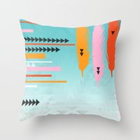 Tribal Feather  Throw Pillow