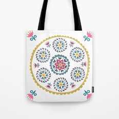 Suzani inspired floral blue 3 Tote Bag