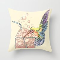 Floating Bubbles Throw Pillow