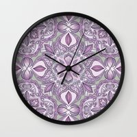Lavender & Grey - Colored Crayon Floral Pattern Wall Clock