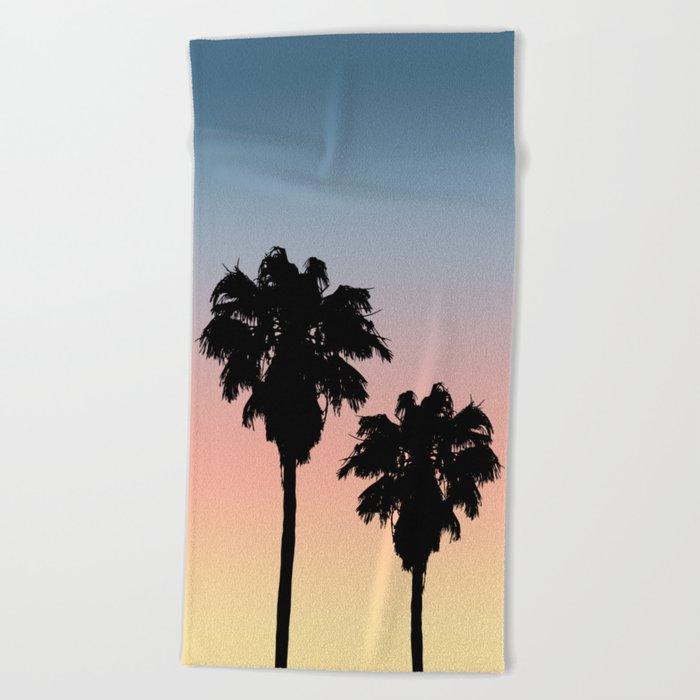 tropical beach sunset palm tree silhouette beach towel blanket