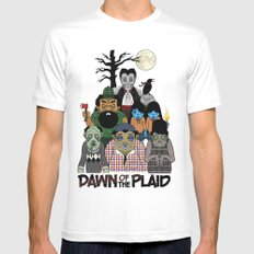 Dawn of the Plaid White Mens Fitted Tee SMALL